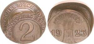 Weimar-2-Pfennig-1923-Lack-Coinage-Double-2x-Embossed-XF