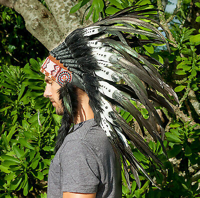 Feather Headdress - Native American Indian style - DOUBLE FEATHER Black & White
