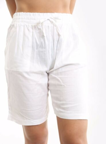 Ladies Lightweight Linen Blend Summer Casual Knee Length Shorts with Drawstring