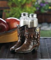 Country Western Cowboy Boot Cross Statue Kitchen Glass Salt & Pepper Shaker Set