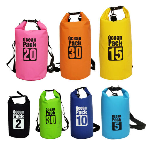 2L-30L Portable PVC Waterproof Dry Bag Floating Boating Camping Backpack Useful