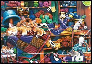 Knittin-Kittens-Chart-Counted-Cross-Stitch-Pattern-Needlework-Xstitch-Craft