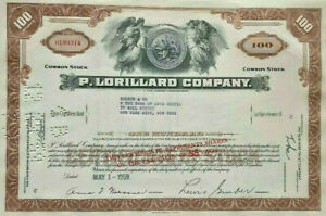 P Lorillard Company > Newport Maverick Old Gold Kent tobacco stock certificate