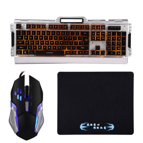 104 Keys LED Backlit Usb Ergonomic Mechanical Gaming Keyboard Mouse Mousepad Set