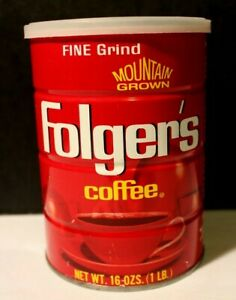 Vintage Folgers Metal Coffee Can 16oz.-Fine Grind, Made In the U.S.A.