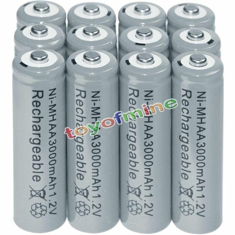 12x AA battery batteries Bulk Nickel Hydride Rechargeable NI-MH 3000mAh 1.2V Gra