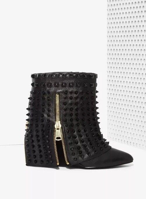 Nasty Gal Battle Studded Leather Boots