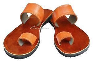 Handmade-Real-Leather-Women-Sandals-Ladies-Brown-Tan-Toe-Ring-Biblical-Sandals