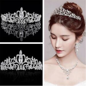 Image Is Loading Bridal Princess Crystal Hair Tiara Wedding Crown Veil