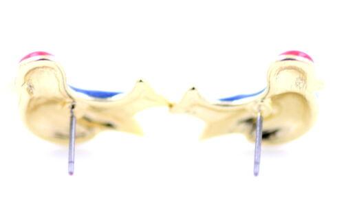 Tono Oro Cristal Ojo Azul Y Rojo Esmalte Pájaro Pendientes con Pasador