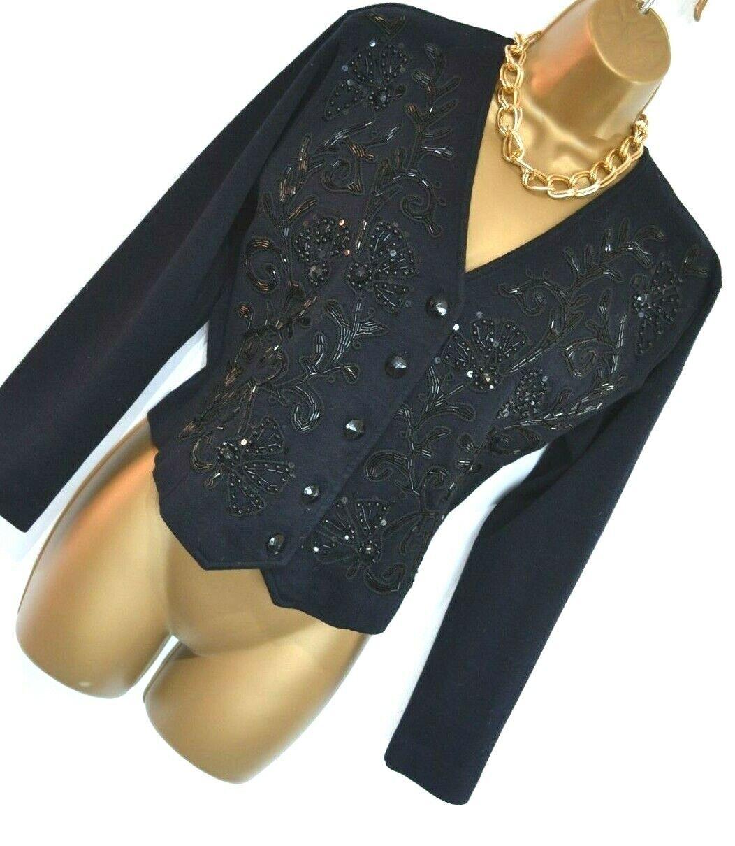 L'ULTIMA Beautiful True Vintage Beaded Blouse Top Jacket Size 10 12