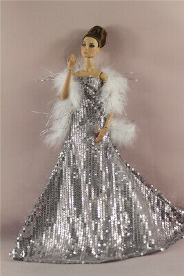 Fashion Royalty Rose Shining bead Dress Gown Clothes For 11.5 inch Doll
