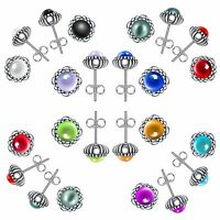 Brand Birthday Stone Fashion Pearl Women Silver Stud Earrings 925 Jewelry