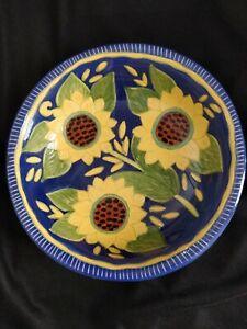 Vintage-Majolica-Bowl-Anibal-Rosado-Sunflowers-S-Pedro-Corval-Portugal-platter