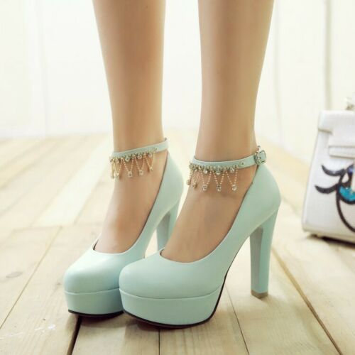 Bling Bling Rhinestones Ladies High Heels Pumps Ankle Strap Party Prom Shoes New