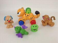 Lot of 5 Fisher Price Amazing Animals Baby Toys Push N Go Tiger Monkey Frog Dog+