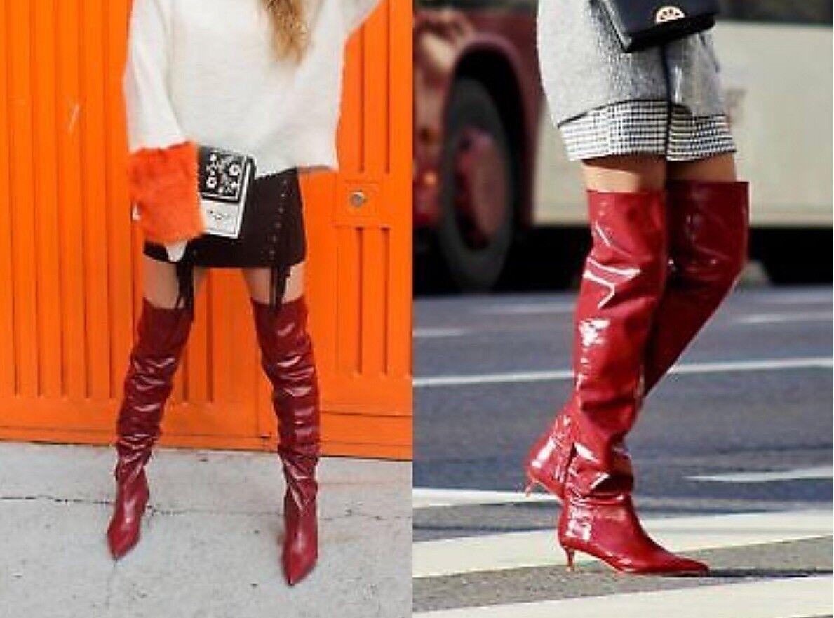 Nuevo Con Etiquetas Zara Zara Zara de cuero se reunieron sobre la rodilla Taco Alto botas Tamaños De 6014 201_ALL Rojo  Tienda de moda y compras online.