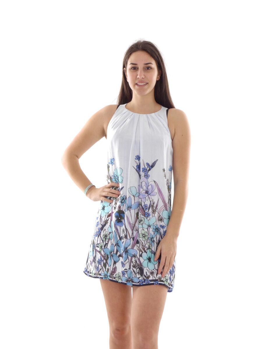 Richard Kravetz Kleid Sommerkleid Faltenkleid blau Print dünn leicht