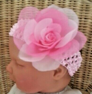 BABY GIRL //CHILD//REBORN DOLL 2 INCH ROSE FLOWER HEADBAND VARIOUS COLOURS