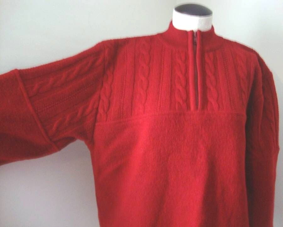 VINTAGE LL BEAN APRES SKI RED 1 4 ZIP BOILED WOOL & CABLE KNIT SWEATER SZ L EVUC