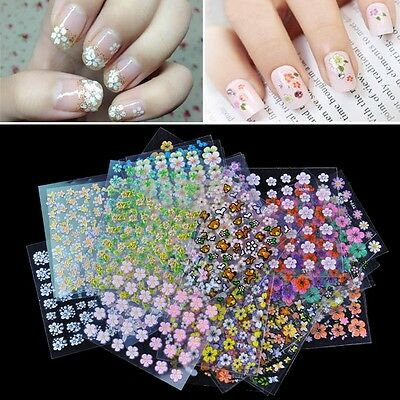 10/50 Sheets Nail Art Transfer Stickers 3D Design Manicure Tips Decal Decoration