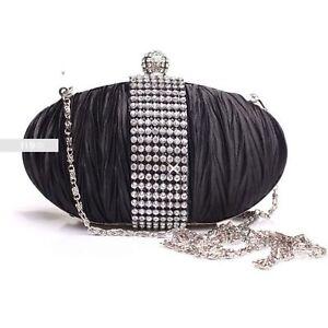 Stylish-Black-Diamante-Wedding-Ladies-Party-Prom-Evening-Clutch-Hand-Bag-Purse