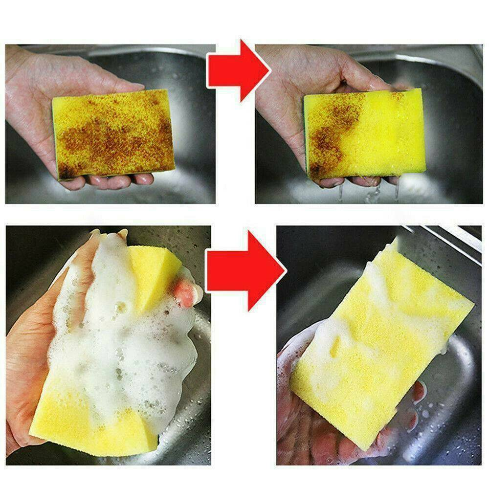 10PCS Sponge Cleaning Dish Washing Catering Scourer Scouring Pads Kitchen Tool