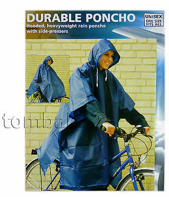 Reusable RAIN PONCHO Thick PVC Hooded Coat Bicycle Bike Hiking Festival Camping