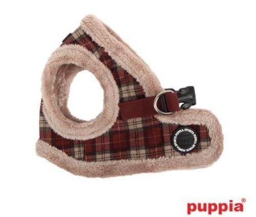 ONE LEFT PUPPIA Vest Dog Harness Choke Free Fleecey WINE PLAID BARRON-SMALL