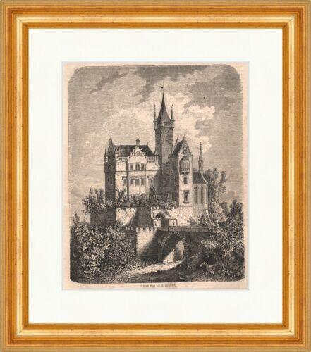 Schloss Egg Deggendorf Holzstich Bayerischer Wald Herzogin Burg P 0396 Gerahmt