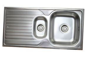 Dettagli su Acciaio Inox Lavello Cucina 1,5 Lavabo 100cm x 50cm Incasso  Lavandino