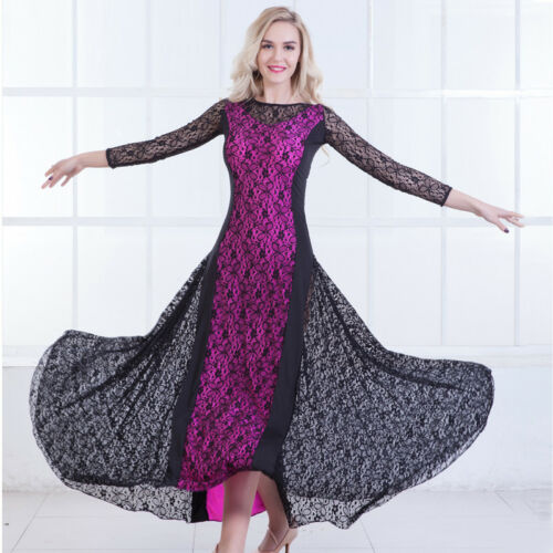 Latin Ballroom Dance Dress Modern Salsa Waltz Standard Long Dress#N090 4 Colors