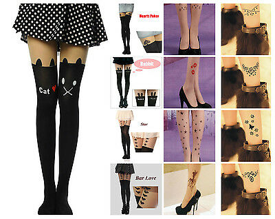 Pop Girl's Sexy Fashion Women's Sheer Pantyhose Mock Stocking Tattoo Tight Sock