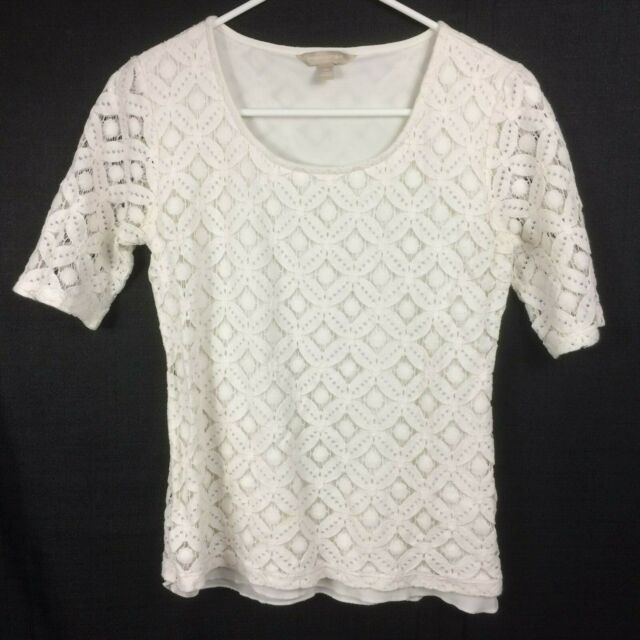 Banana Republic Women's Ivory Short Sleeve Top with Lace Style Overlay - Size XS