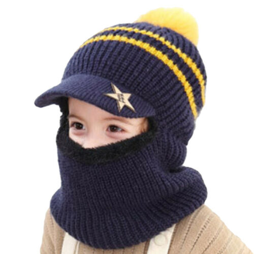 Knitted Baby Beanie Hat+Scarf Set For Girl Boy Winter Warm Fleece Earflap Caps