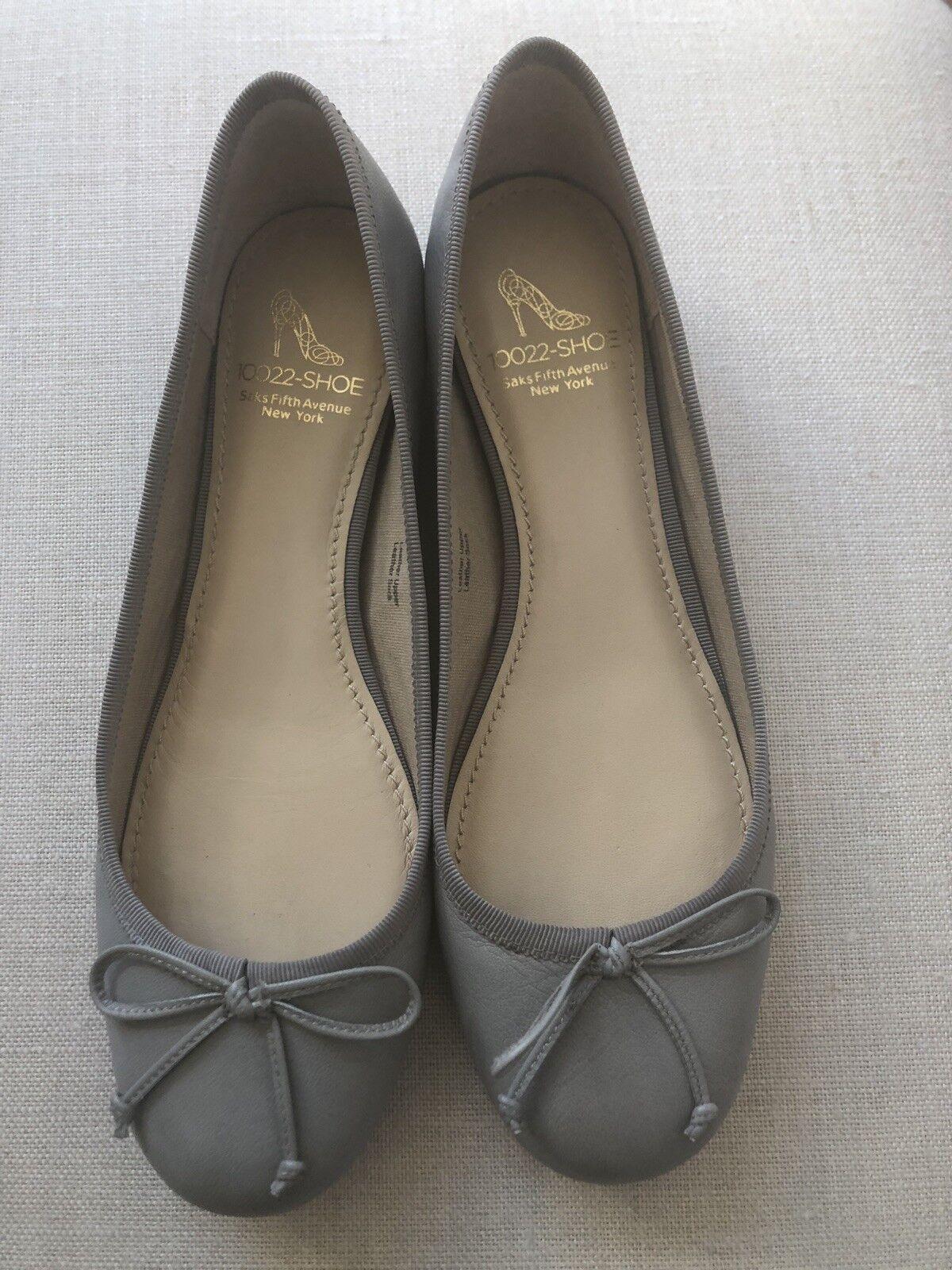 10022-de zapatos por Saks Bailarina Plana Plana Plana gris Talla 6.5  tienda de venta