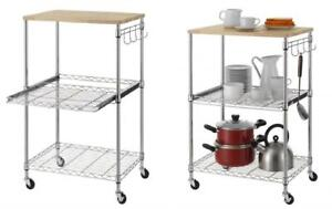 Details about Finnhomy 3-Tier Wire Rolling Kitchen Cart, Food Service  Microwave...