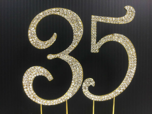 Gold Rhinestone NUMBER 35 Cake Topper 35th Birthday Party Anniversary