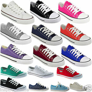 NEW-LADIES-WOMENS-GIRLS-FLAT-LACE-UP-PLIMSOLLS-PUMPS-CANVAS-TRAINERS-SHOES-SIZE