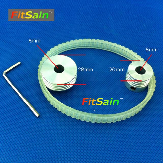 FitSain-3pcs Multi wedge PJ Belt pulley 4 slots 4PJ268 spindle Transmission Belt