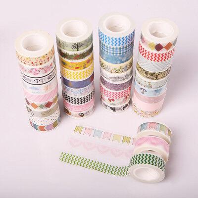 5x New Design 1.5cm×10M DIY paper Sticky Adhesive Sticker Decorative Washi Tape