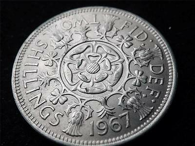 TWO SHILLINGS COIN KEYRING CHOICE OF YEAR 1947 TO 1967 PERFECT BIRTHDAY FLORIN
