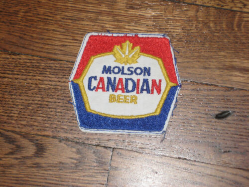 molson,canadian beer yellow vintage patch  nos blue 60/'s,no border,red,white