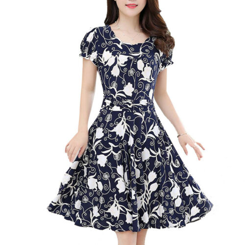 Women Summer Floral Swing Skater Dress Vintage Style Short Sleeve O-neck Dresses