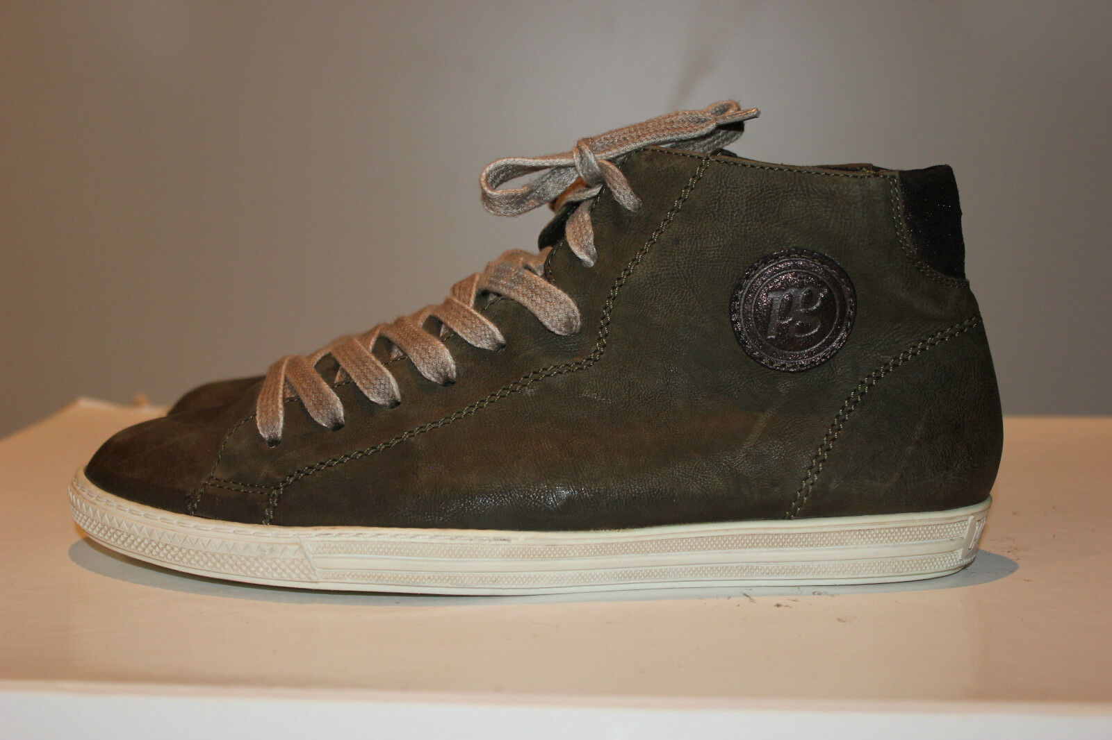 PBUL GREEN Dunkelgrün Echtleder High-Top Sneakers, Gr. 39/UK6,5, Top Zustand!