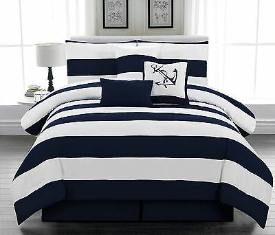 7 piece Microfiber Nautical Comforter set Navy Blue & White Striped Queen size