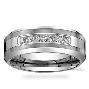 Details about Men's Tungsten Carbide Diamond Wedding Band Ring 8mm Wide  Anniversary 0 29 Carat