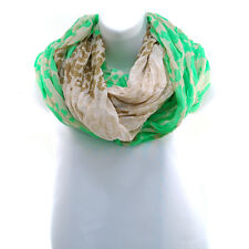Women's Two Toned Leopard Print Infinity Loop Scarf - Lime Green