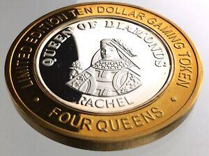 Ten-Dollar-Gaming-Token-4-Four-Queens-Casino-Las-Vegas-Nevada-999-Silver-R978