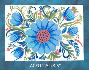 Original-ACEO-Folk-art-miniature-acrylic-painting-not-framed